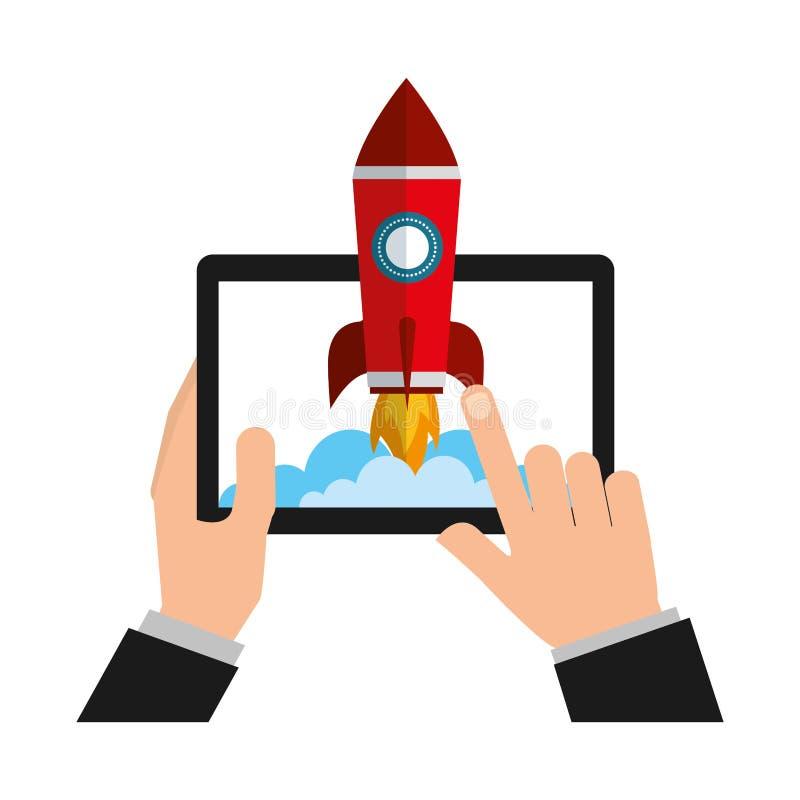 Manos con el dispositivo de la tableta y el cohete de lanzamiento ilustración del vector