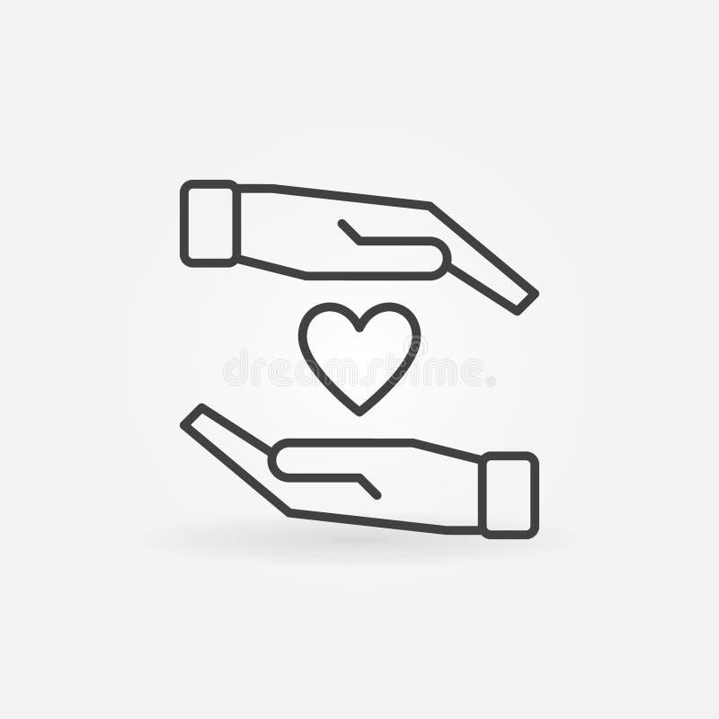 Manos con el icono del vector del corazón en la línea estilo fina ilustración del vector