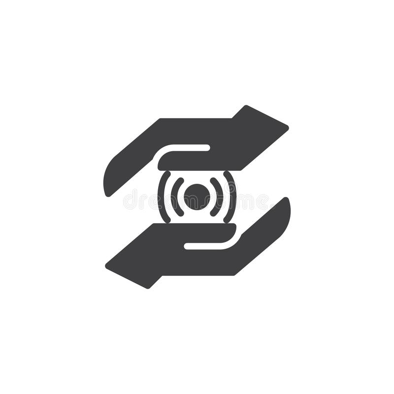 Manos con el icono del vector del punto de la conexión inalámbrica stock de ilustración