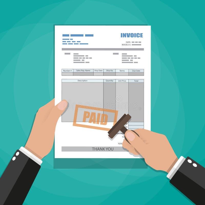 Manos con el sello Forma de papel de la factura ilustración del vector