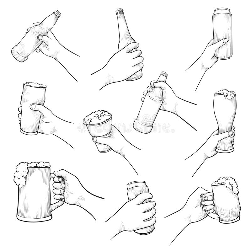 Manos con el sistema del bosquejo del vector de la cerveza aislado de fondo libre illustration