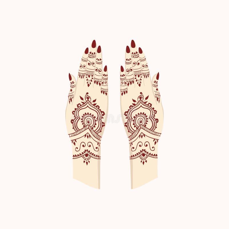 Manos con Henna Mehendi Patterns Artes tradicionales del ejemplo del vector ilustración del vector