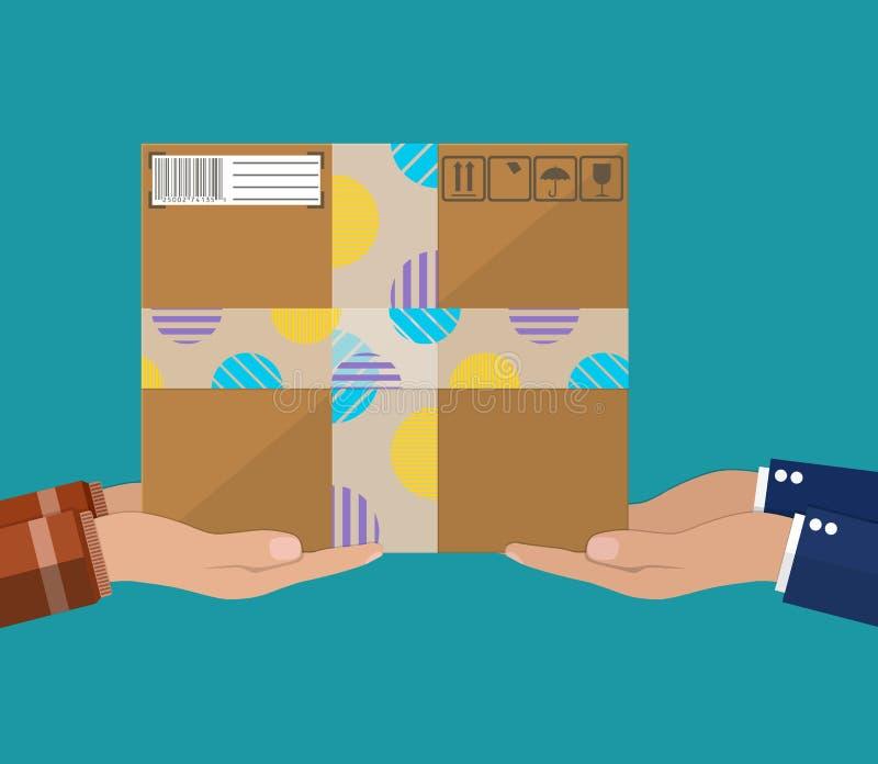 Manos con la caja de cartón postal stock de ilustración