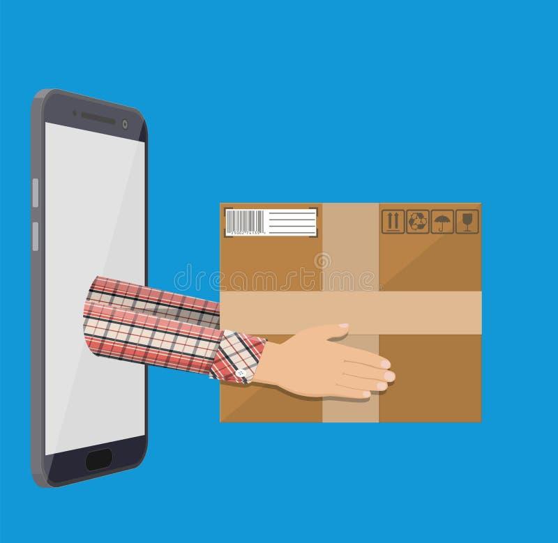 Manos con la caja y el smartphone postales de cartón ilustración del vector