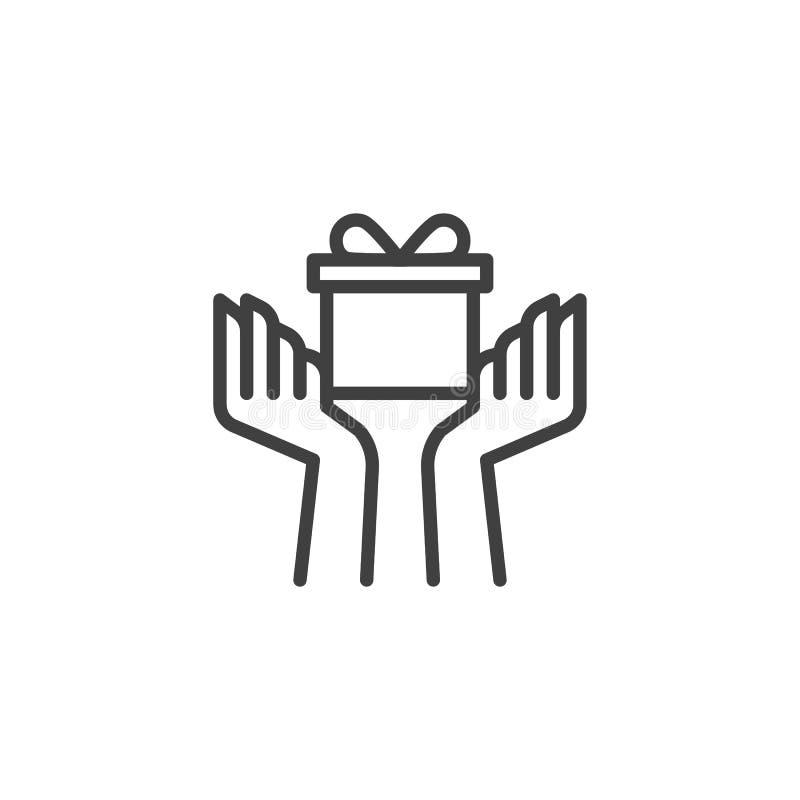 Manos con la línea icono de la caja de regalo stock de ilustración