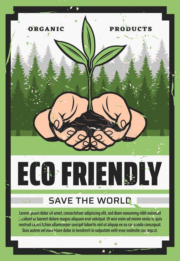 Manos con la planta verde y los árboles del eco ecolog?a stock de ilustración