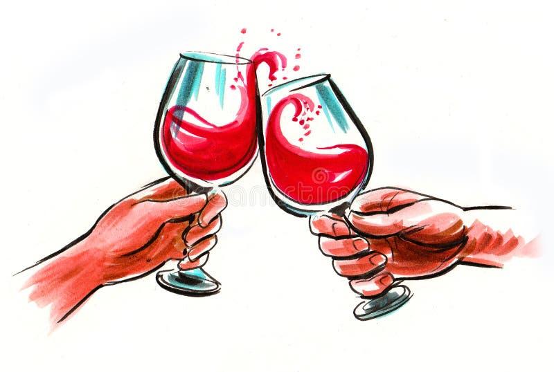Manos con las copas de vino ilustración del vector