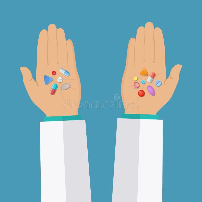 Manos con las píldoras stock de ilustración
