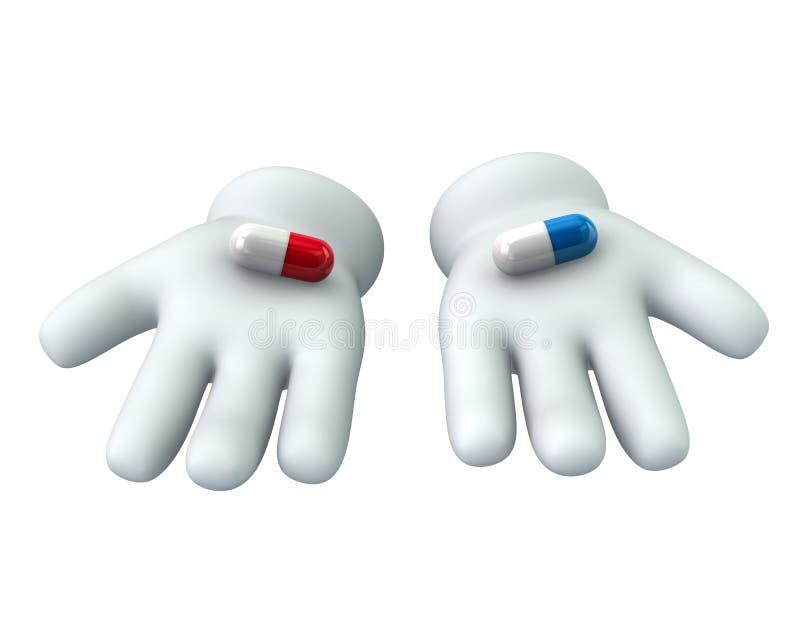 Manos con las píldoras rojas y azules libre illustration