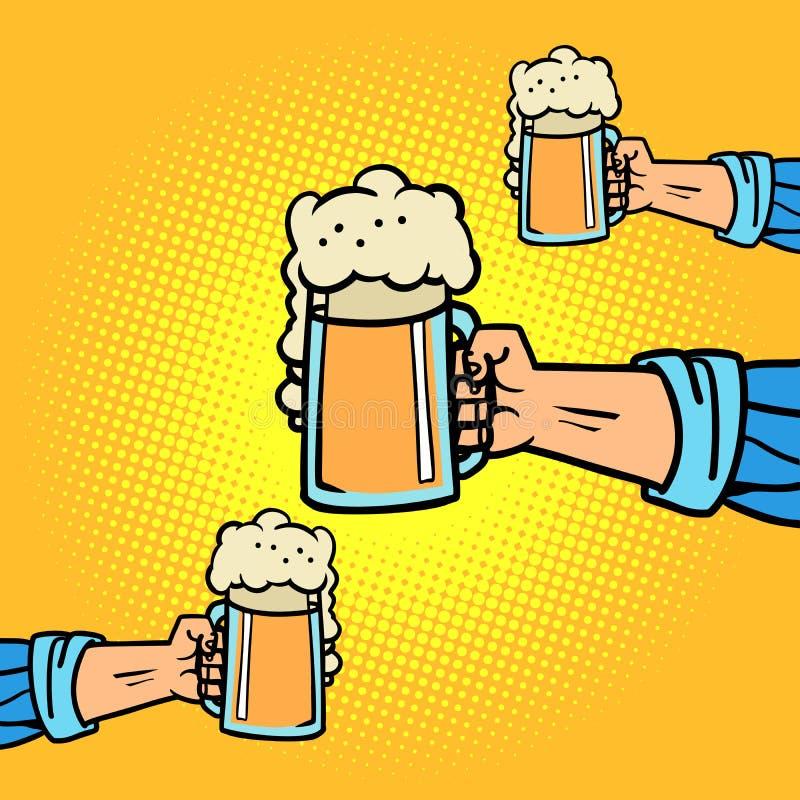 manos con las tazas de cerveza stock de ilustración