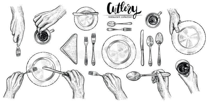 Manos con los cubiertos, línea ejemplos del vector Opinión superior sobre el ajuste de la tabla con la cena de gente ilustración del vector