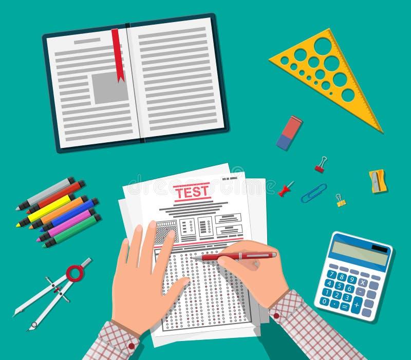 Manos con los formularios de la encuesta sobre o del examen el terraplén de la pluma stock de ilustración