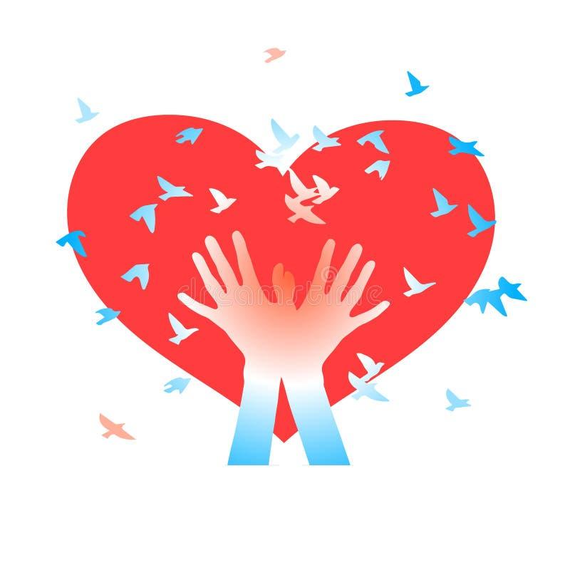 Manos con los pájaros en un fondo de corazones ilustración del vector