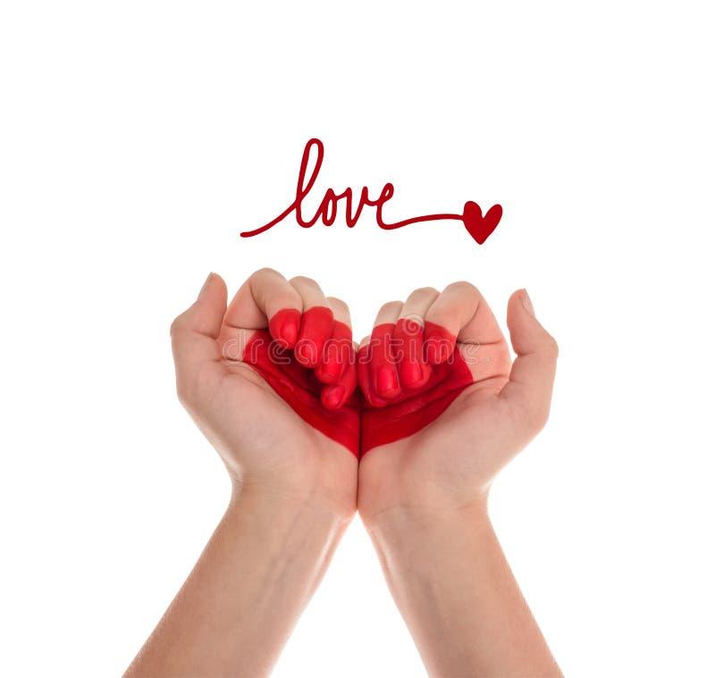 Manos con símbolo del corazón stock de ilustración