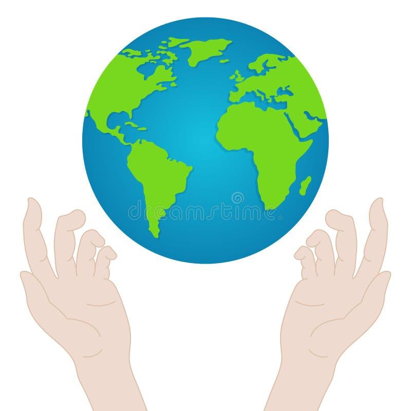 Manos con tierra Manos de la gente que sostienen el globo Concepto del d?a de la paz Ilustraci?n del vector para su agua dulce de ilustración del vector