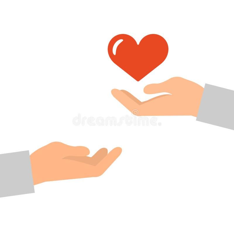 Manos con un icono rojo del corazón ilustración del vector
