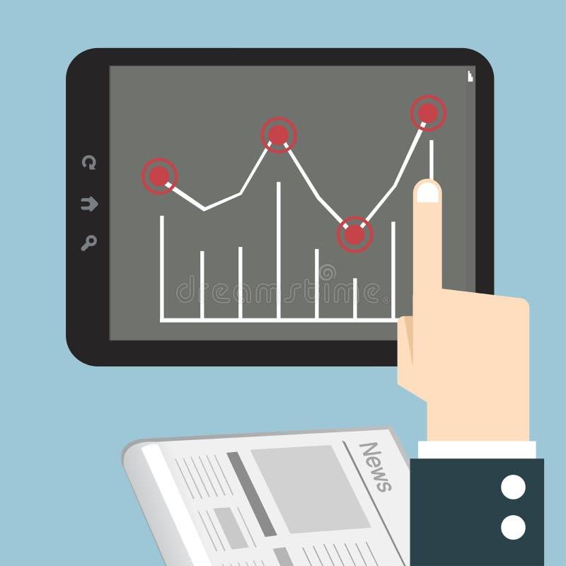 Manos con un tacto de la tableta con el gráfico stock de ilustración