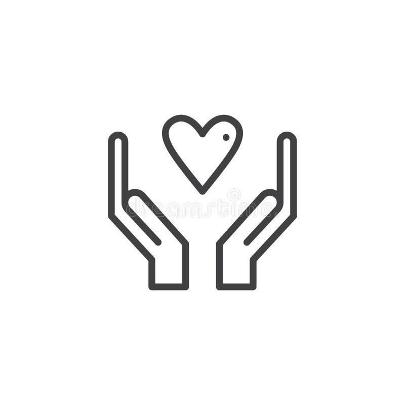 Manos con vector del icono del corazón ilustración del vector