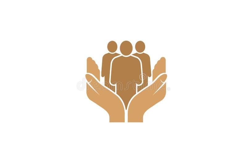 Manos creativas que detienen a la persona Logo Design Vector Symbol Illustration de la gente ilustración del vector