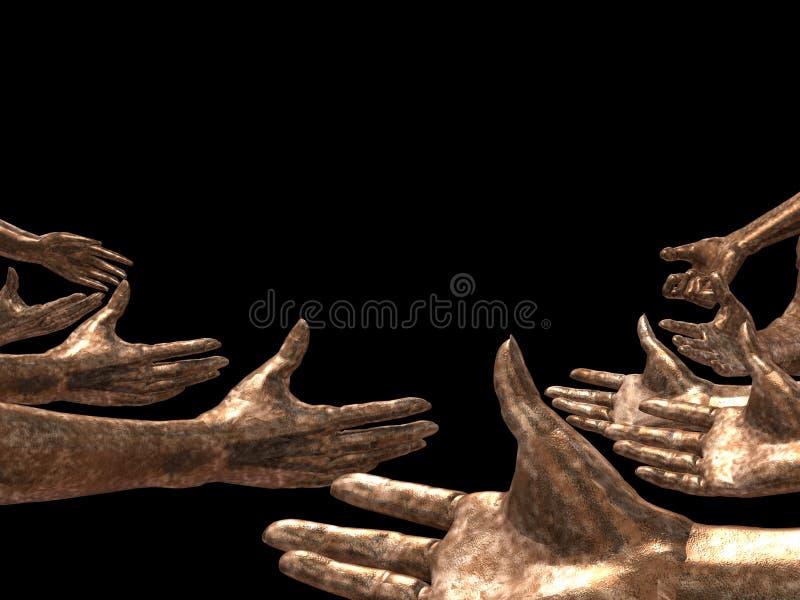 Manos de cobre foto de archivo libre de regalías