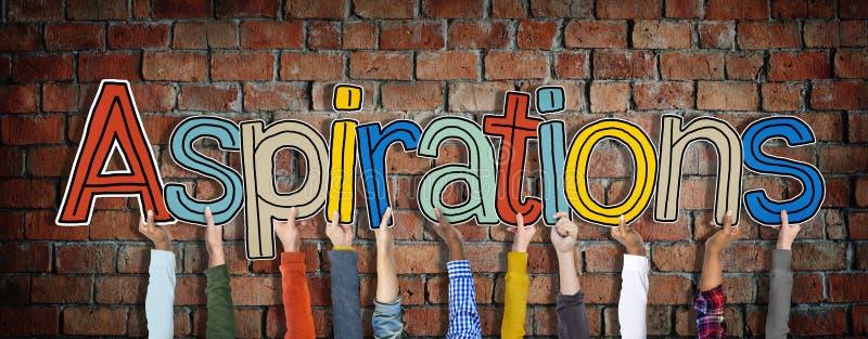 Manos de Diiverse que llevan a cabo las aspiraciones de la palabra imagen de archivo libre de regalías