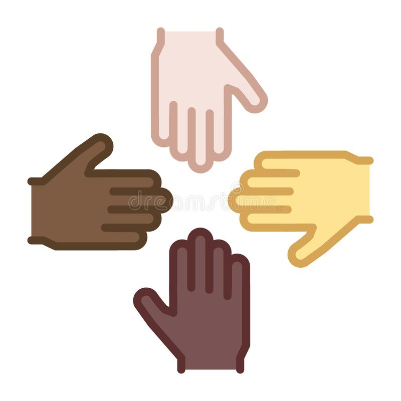 4 manos de diversos orígenes étnicos y colores de piel combinan libre illustration