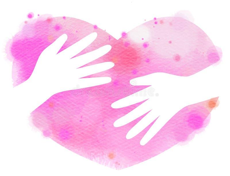 Manos de la acuarela que abrazan el corazón Pintura del arte de Digitaces fotografía de archivo