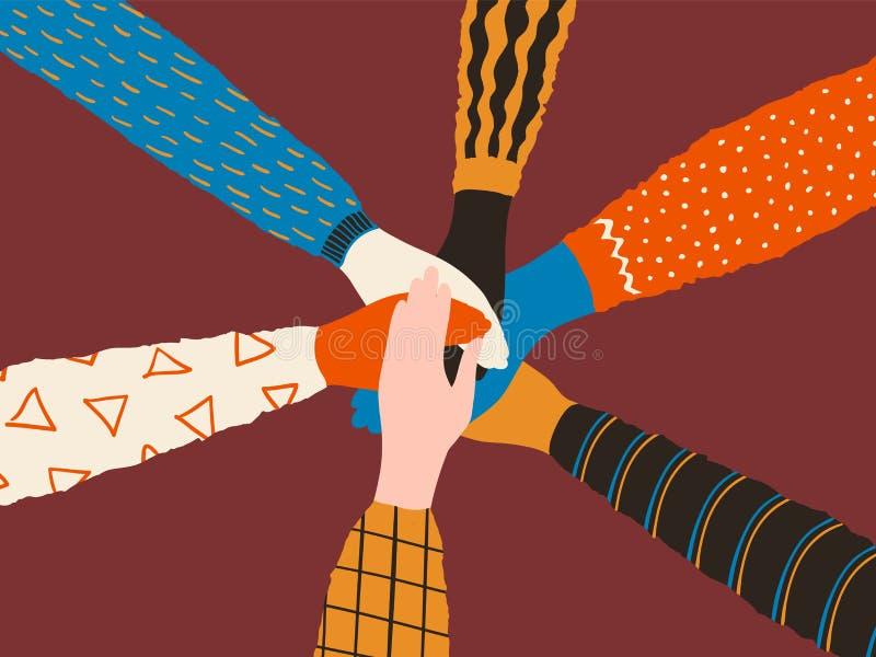 Manos de la amistad Pila de diversas manos de la gente, de amigos o de concepto de moda del equipo Cooperación y trabajo en equip stock de ilustración