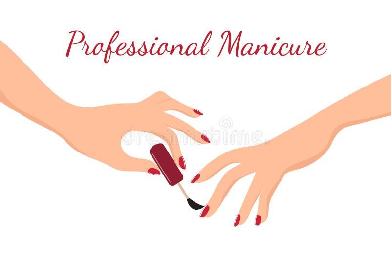 Manos de la chica joven que hacen la manicura con el esmalte de uñas rojo La belleza, el cuidado del cuerpo y el salón del clavo  stock de ilustración