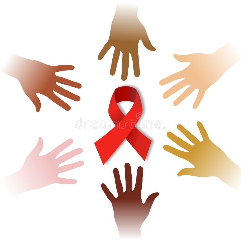 Manos de la diversidad alrededor del símbolo del SIDA ilustración del vector