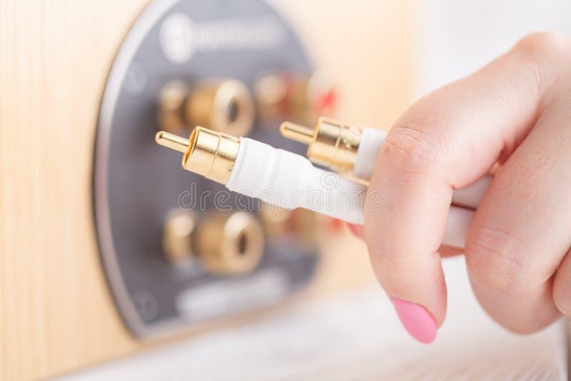 Manos de la hembra del oin de los conectores RCA foto de archivo libre de regalías