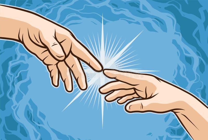 Manos de la historieta que se tocan con los fingeres ilustración del vector