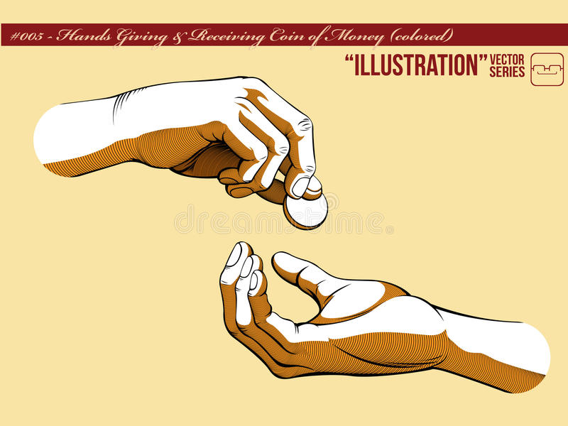 Manos de la ilustración #005 que dan y que reciben Money_1 ilustración del vector