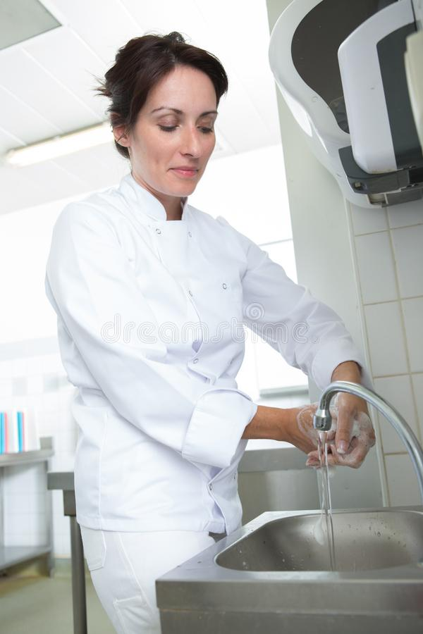 Manos de la limpieza del cocinero de la mujer fotos de archivo libres de regalías