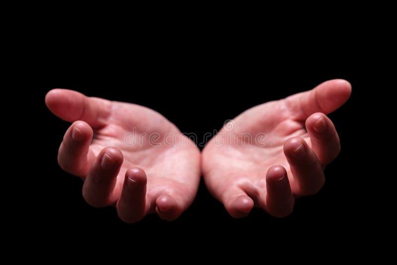 Manos de la mujer ahuecadas en dar la bienvenida, aceptando, ofreciendo, dando, petición, recibiendo gesto foto de archivo libre de regalías