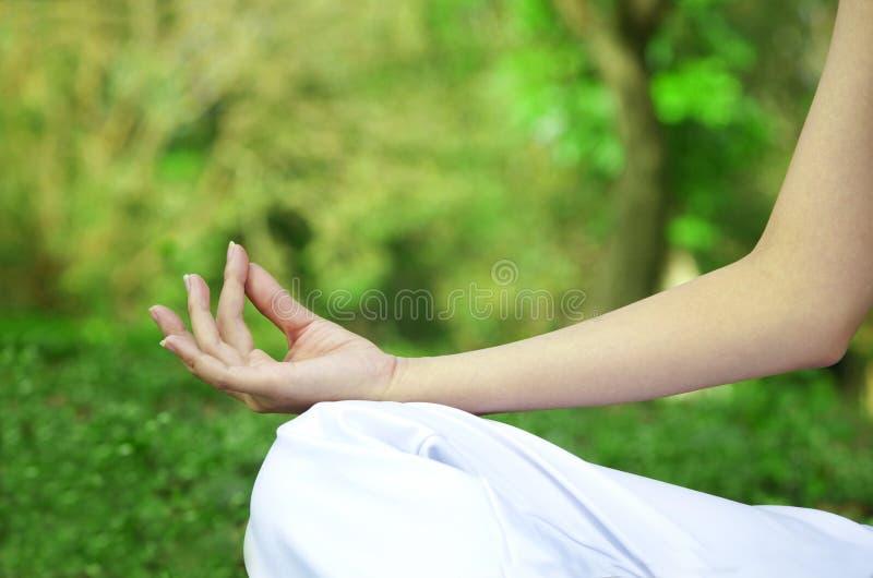 Manos de la mujer en yoga imagenes de archivo
