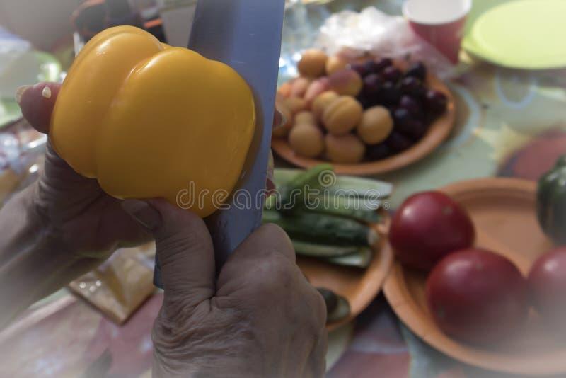 Manos de la mujer mayor que preparan las verduras frescas para la comida campestre imagen de archivo