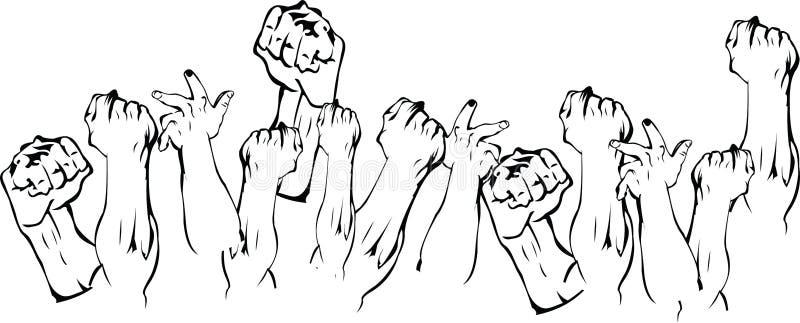 Manos de la revolución para arriba ilustración del vector