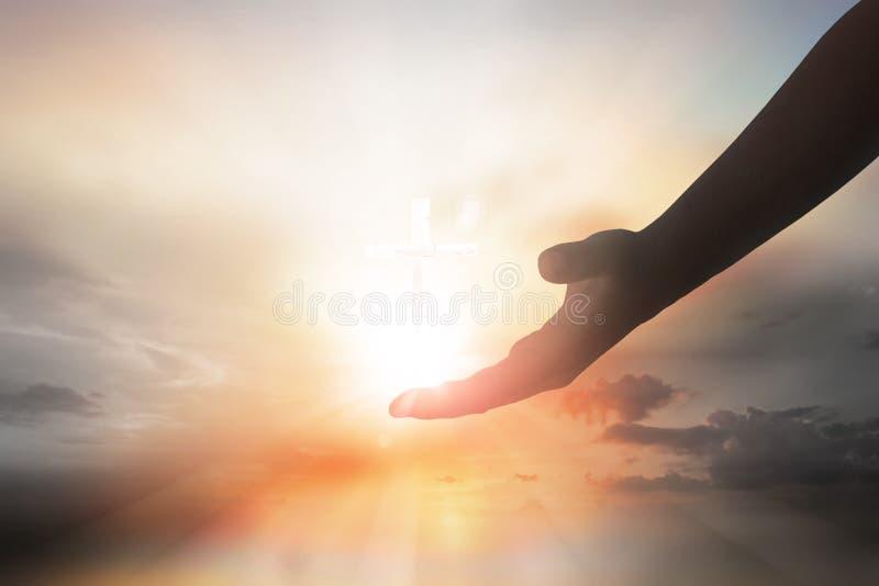 Manos de la silueta de Jesus Christ foto de archivo