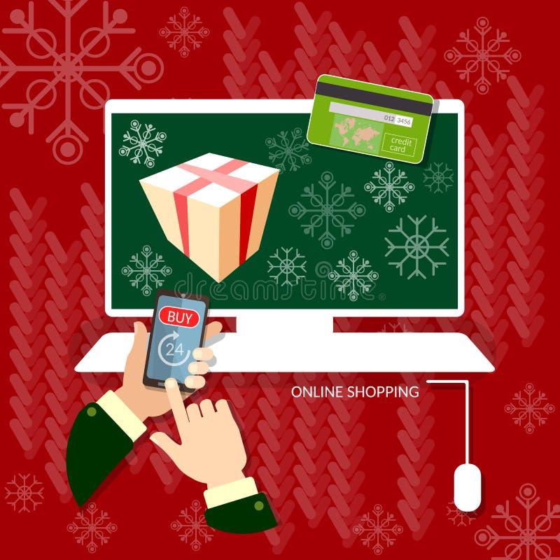 Manos de las compras de la Navidad usando compras en línea del teléfono elegante stock de ilustración