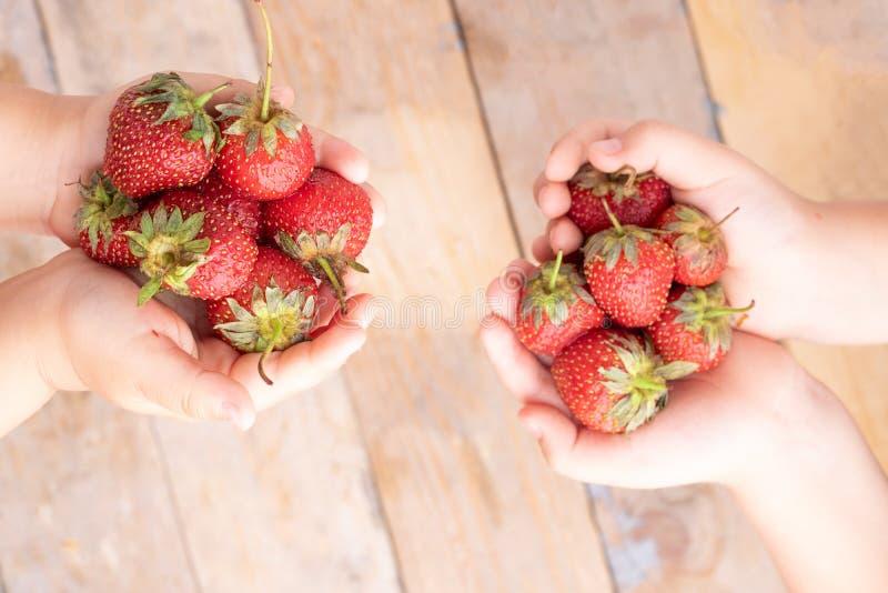 Manos de los niños cerca del cuenco blanco con las fresas, visión superior imágenes de archivo libres de regalías