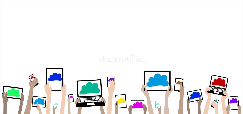 Manos de los niños de BYOD con la bandera de los ordenadores y de las nubes ilustración del vector