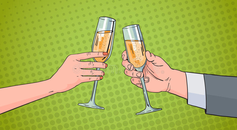 Manos de los pares que tintinean el vidrio de Champagne Wine Toasting Pop Art Pin Up Background retro ilustración del vector