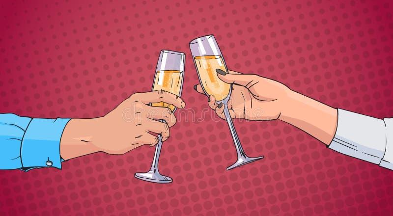 Manos de los pares que tintinean el vidrio de Champagne Wine Toasting Pop Art Pin Up Background retro stock de ilustración
