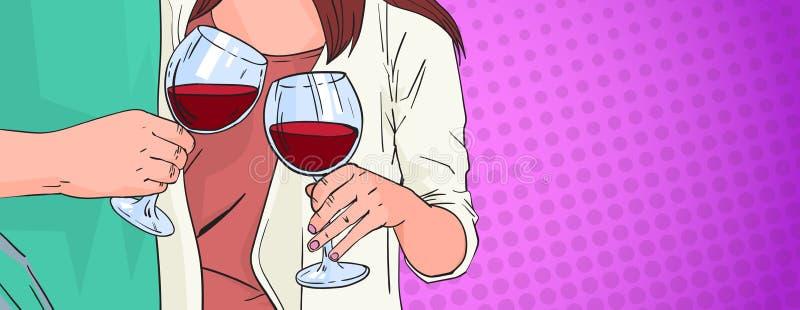 Manos de los pares que tintinean el vidrio de vino rojo que tuesta el estallido Art Retro Pin Up Background ilustración del vector
