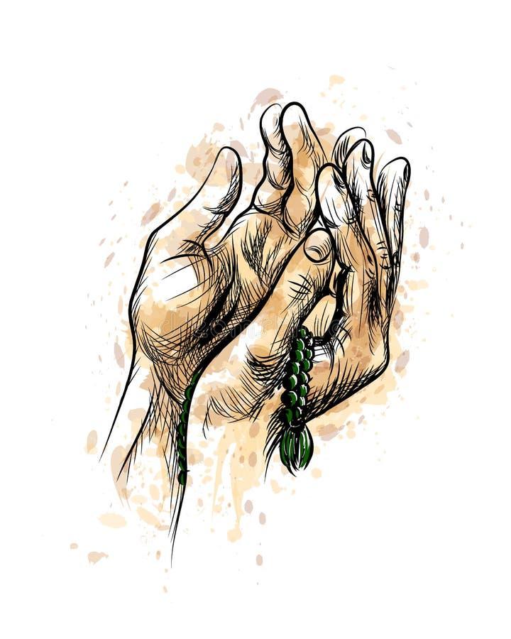 Manos de rogación con el rosario stock de ilustración