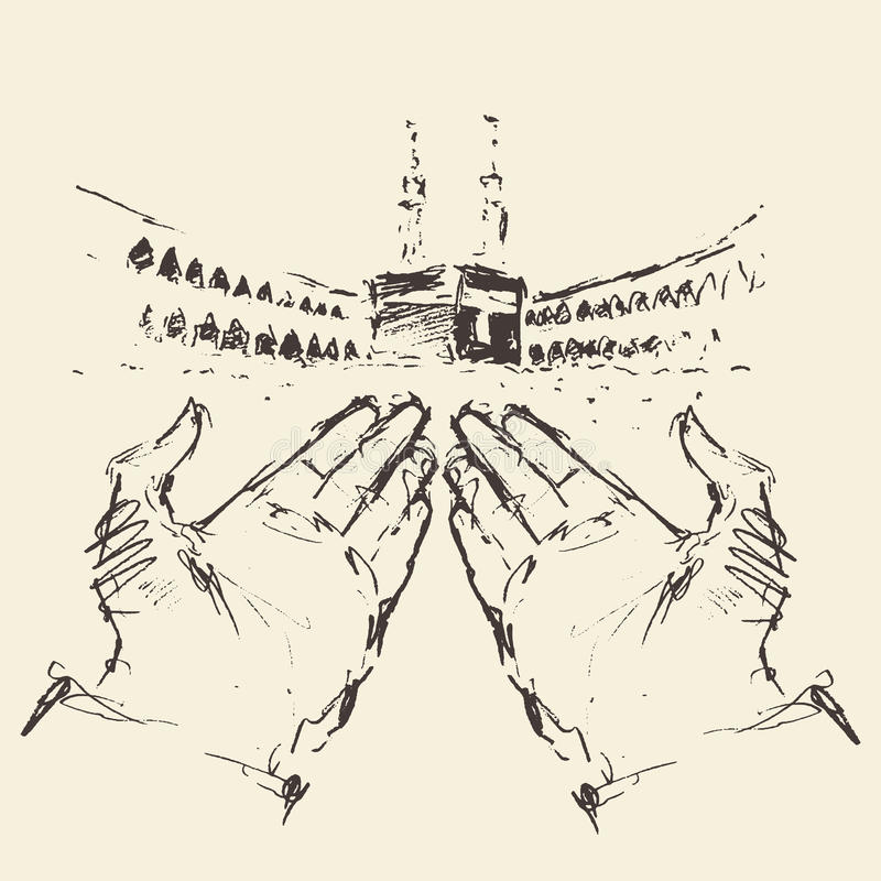 Manos de rogación santas de Kaaba Mecca Saudi Arabia dibujadas ilustración del vector