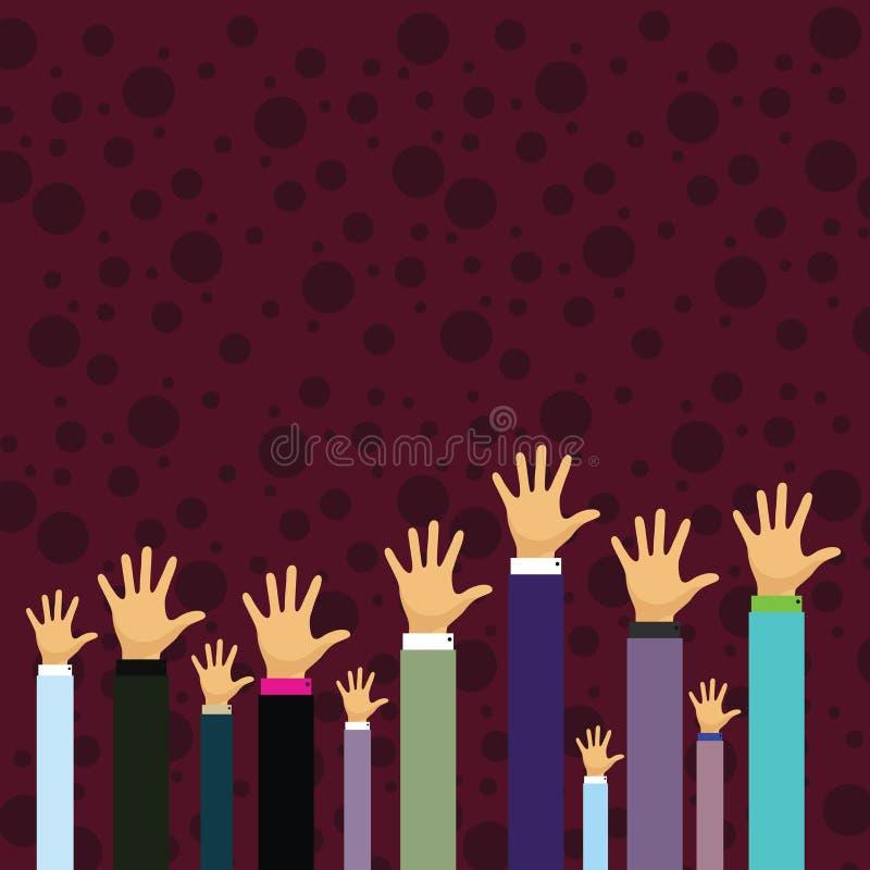 Manos de varios hombres de negocios que aumentan para arriba sobre la palma principal que hace frente al frente Idea creativa del stock de ilustración
