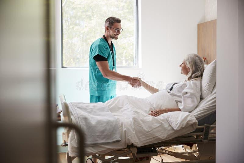 Manos de Visiting And Shaking del cirujano con el paciente femenino maduro en cama de hospital fotos de archivo libres de regalías