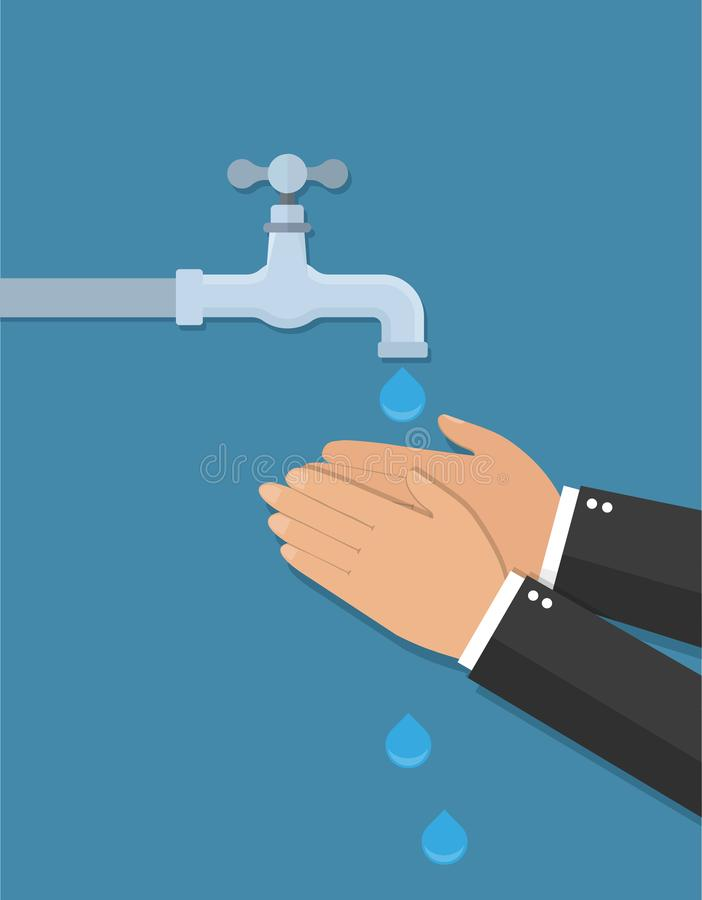Manos debajo del agua que cae fuera del golpecito El hombre lava las manos Estilo plano ilustración del vector